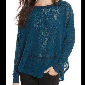 Free People teal open knit floral detail top